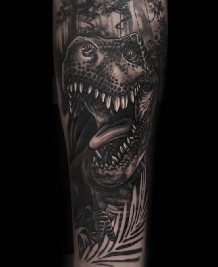 T-Rex-Black-and-Grey-Tattoo-by-Pawe-Stroinski-london-tattoo-artist