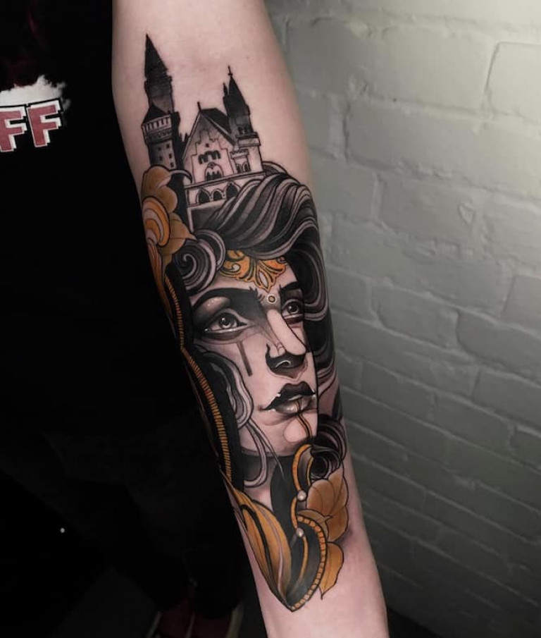 neo-traditional-tattoo-on-forearm