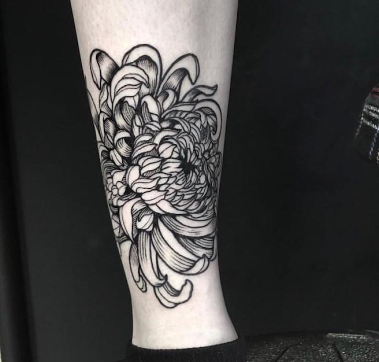 november flower blackwork tattoo