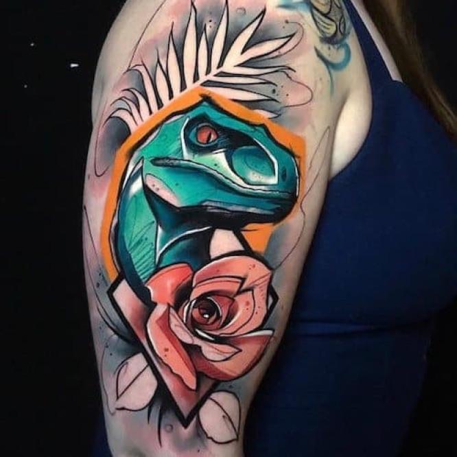 Woman with flowers blackwork tattoo