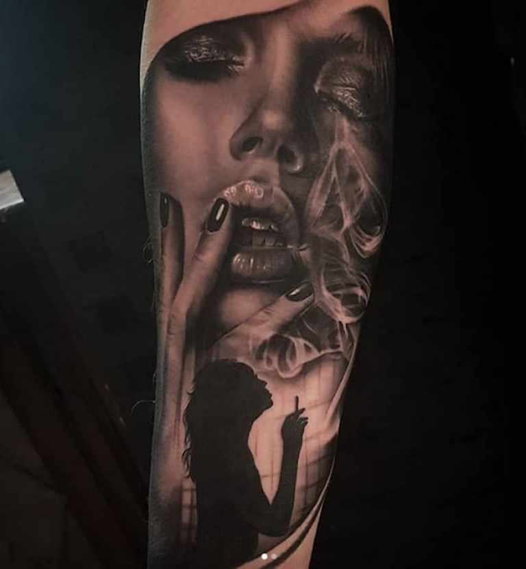 Woman Black and Grey Realism Tattoo