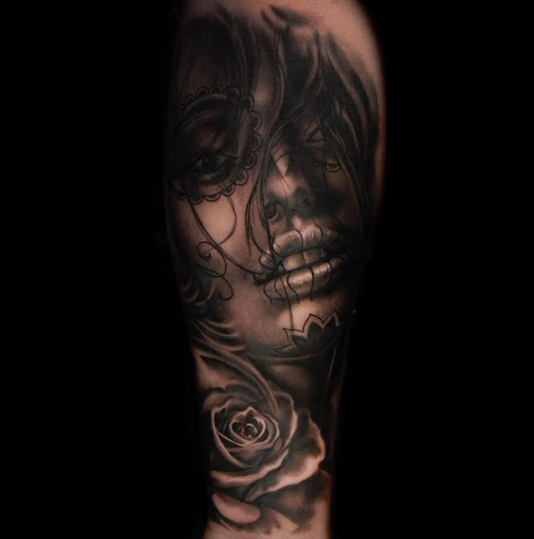 black and grey realism tattoo