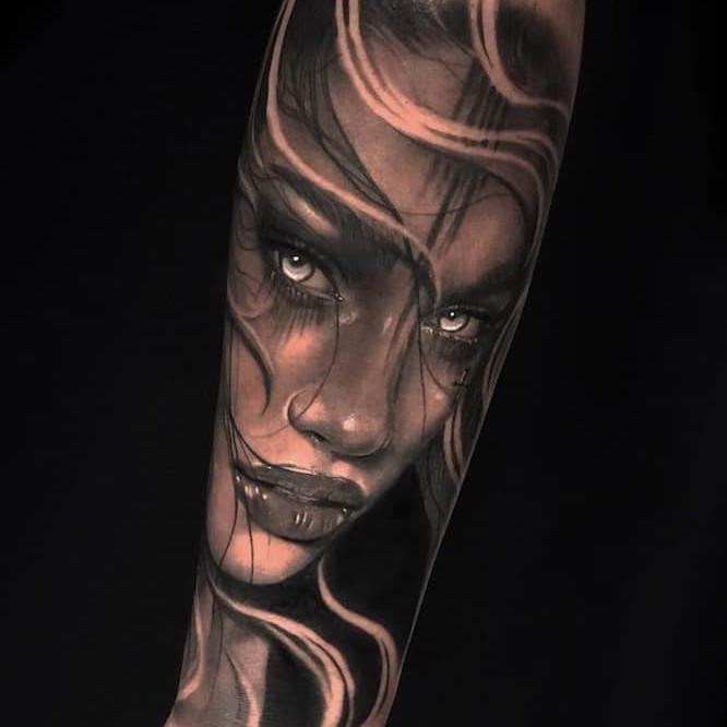 Black and grey tattoo by Channele Jasmin