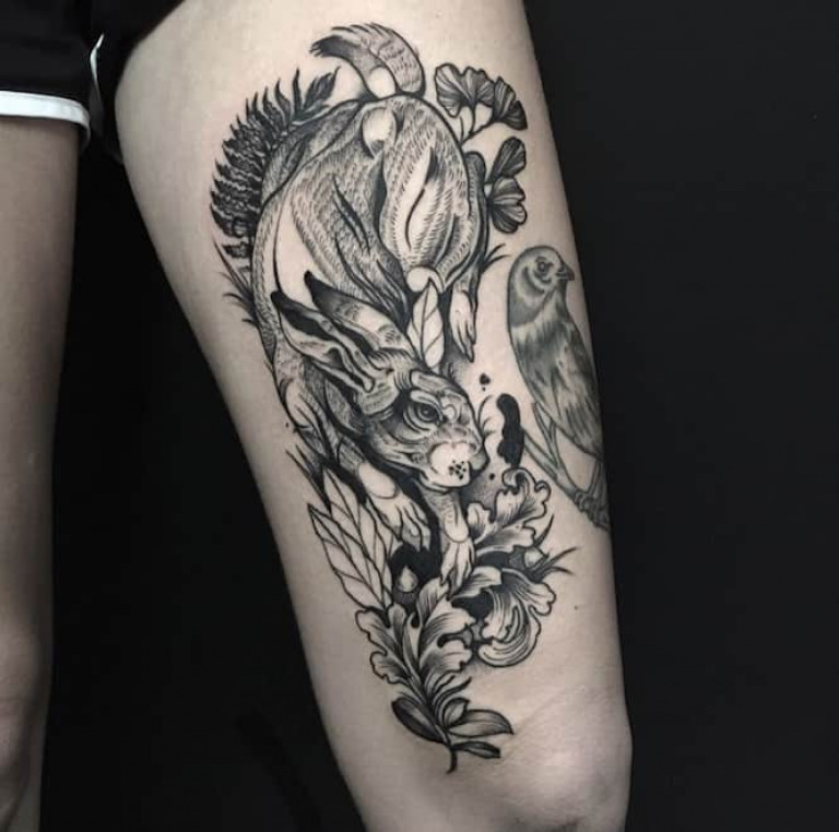 Rabbit-and-Plants-Blackwork-Tattoo
