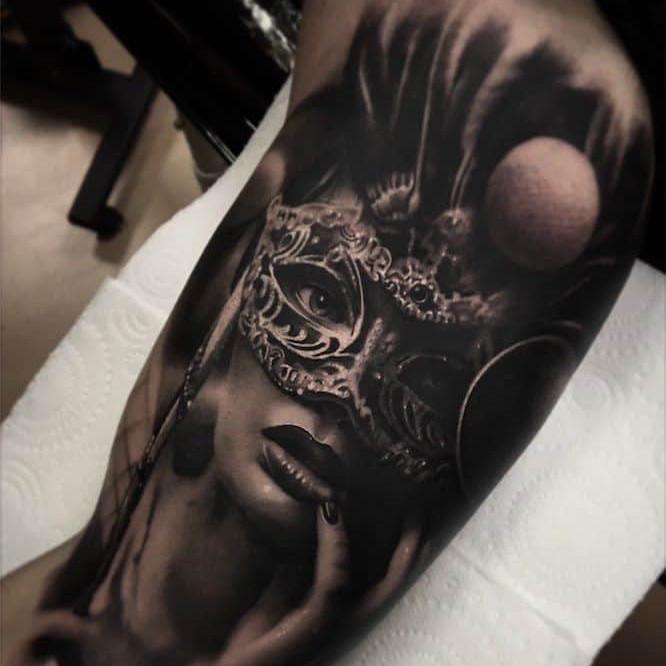 Carnival Masked Woman Tattoo