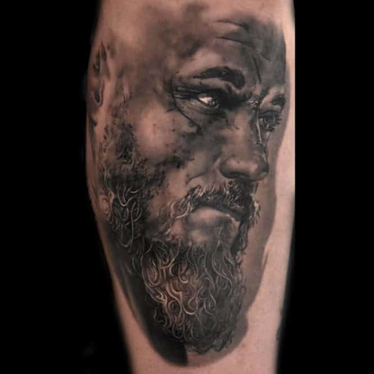 Ragnar Black and Grey Tattoo