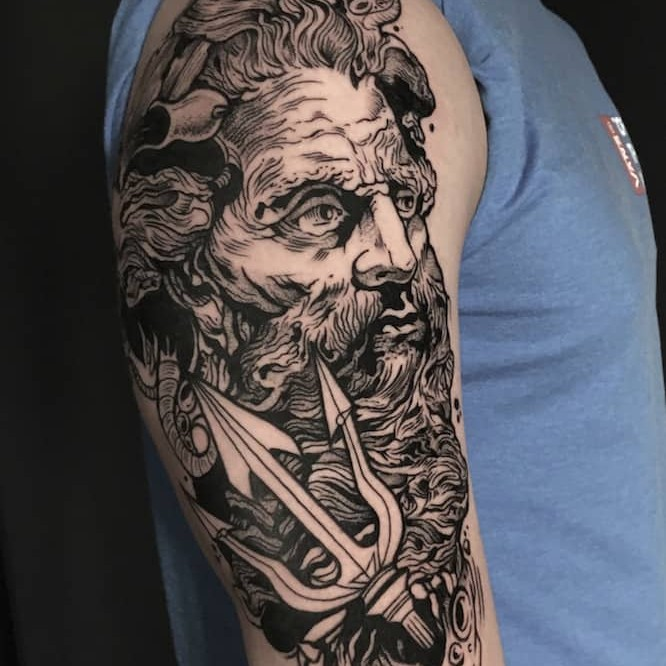 poseidon blackwork tattoo